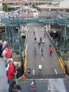 bikes riding onto Washington state ferry