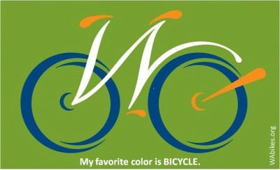 "My favorite color is BICYCLE. Illustration: Washington Bikes ""W"" bike logo image."
