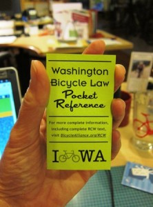 Washington state bike laws -- request your pocket guide from Washington Bikes