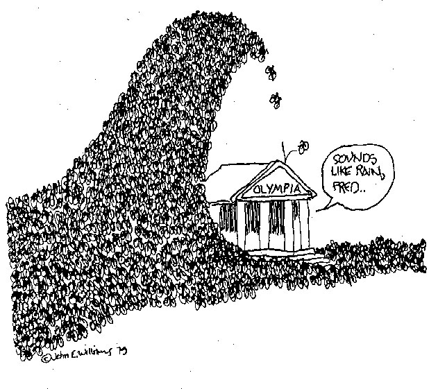 Cartoon showing citizen lobbyists as a crowd descending on a capitol building.