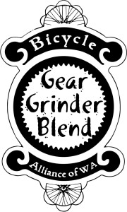 Label design for Gear Grinder Blend, coffee that benefits Washington Bikes