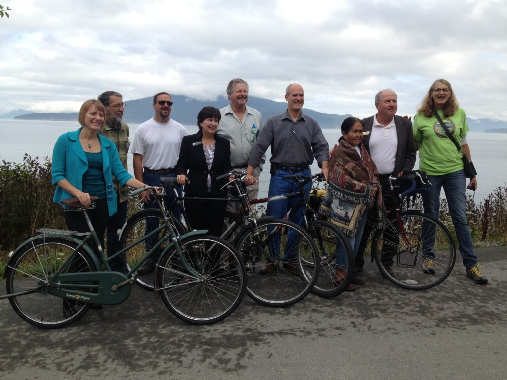 Trail supporters join Rep. Larsen on the Guemes Channel Trail