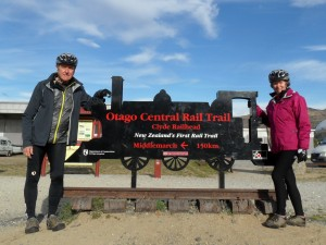 Kathy and King at start of rail-trail in Town of Clyde