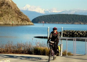 John Pope, board member of Washington Bikes, on his bicycle in Anacortes, WA.