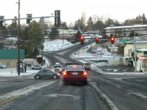 Hall Drive, the main road up to Pullman High School, with a 10% grade.