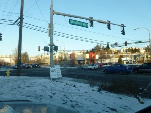 Intersection of Stadium and Grand Ave., Pullman, WA, the busiest intersection in town