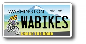 Washington state Share the Road license plate supports bicycle safety education