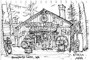 Bonaparte Lake Resort sketch by Andy Goulding.