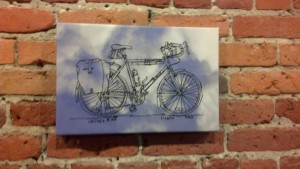 Original bike sketch by Andy Goulding, printed on a sky and clouds background