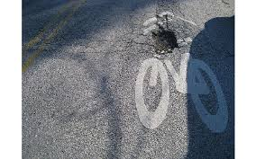 Bike lane with pothole