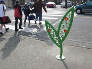 The city of Kent, WA, commissioned these leaf-shaped bike racks as public art for their downtown.