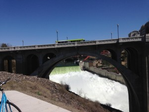 Spokane River Falls beneath Monroe  Street Bridge