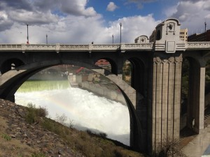 View of Spokane River falls under Monroe Street Bridge, Spokane, WA