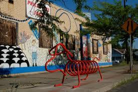 Bike rack shaped like a weiner dog, Spokane, WA