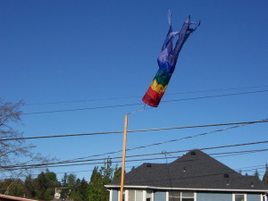 Rainbow windsock blowing straight up