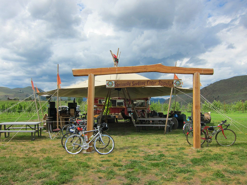 Cyclists visiting this cider orchard contribute to the Methow Valley eonomy.
