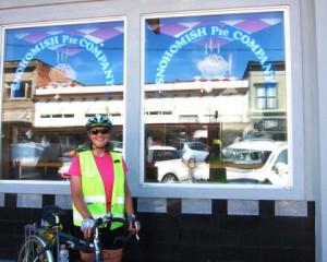 Happy cyclist at Snohomish Pie Company.