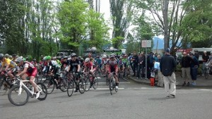 Cat 3 racers start Sunday's road race in the face of rain and a killer climb up Mud Mountain--4 laps, 4 climbs.