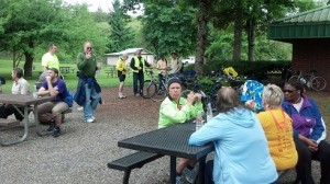 Washington State employees at Bike to Work Day picnic, Tumwater Historical Park, May 16, 2014