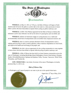 Ride of Silence 2014 proclamation by Gov. Jay Inslee, Washington state