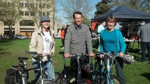 Spokane Bike to Work Kickoff Breakfast: (L-$) Kate Johnston of WA Bikes, Sen. Andy Billig, Barb Chamberlain of WA Bikes