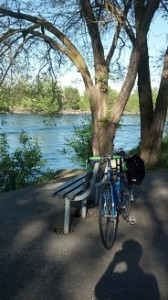 Spokane River Centennial Trail with bike