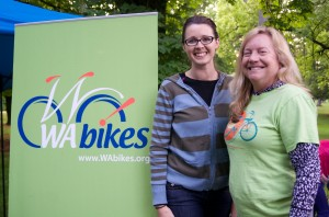Kate Johnston (left) from our Spokane office with Katie Ferris, a parent who cares about safe biking and walking.