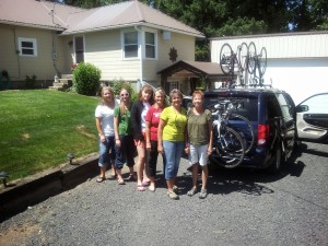 Marie and friends get ready for bike adventure