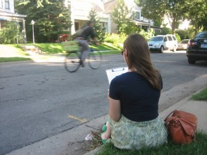 A volunteer helps with the bike count in Spokane. Image from Spokane Regional Transportation Council