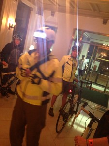People getting decked out with lights and reflective clothing to look at visibility at night.