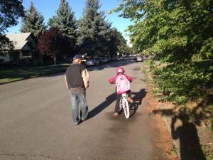 Emma on bike