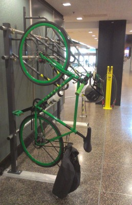 Bike rack and tool stand in SeaTac Airport