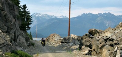 Bicyclists on John Wayne Trail heading to Snoqualmie Pass. Gravel biking.