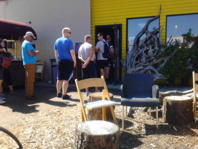 Bikes mean business: The long line at 192 Brewing on the Burke-Gilman Trail proves that.