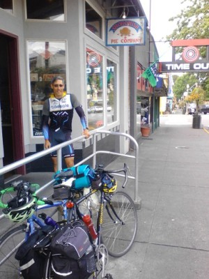 Railing outside Snohomish Pie Company makes for a handy bike rack.
