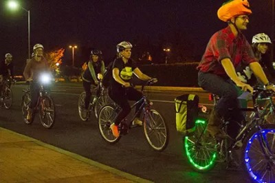Bike Parties are monthly bike rides.