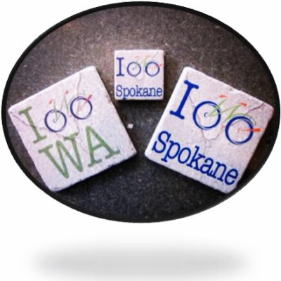 Refrigerator magnets and coasters: I Bike WA, I Bike Spokane