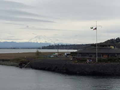 Mount Rainier view from Point Defiance ferry landing, Tacoma, WA. David Killmon photo 2015