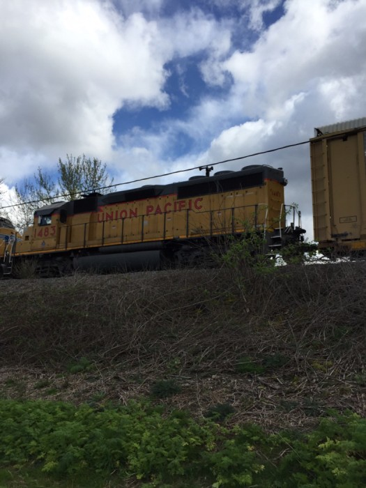 Union Pacific Railroad car on tracks next to Interurban South bike path, Seattle. David Killmon photo 2015