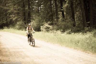 Diane Rudholm on her mountain bike in Twisp, in Washington state's Methow Valley