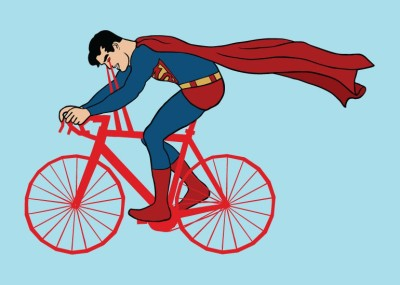 Superman on a bicycle made with his X-ray vision