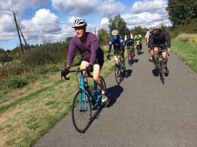 Rep. Rick Larsen making use of Washington's outdoor recreation assets, on a ride with Snohomish and Skagit County bike advocates.