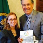 Wenatchee Valley Chamber of Commerce Executive Director Shiloh Schauer presented Gov. Inslee with the community's new action plan. It includes a regional trail network as a top priority, with the Chamber taking the lead to move the network forward.