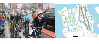 Left: People riding and celebrating the new section of Seattle's basic bike network. Right: The South Sector Project Map