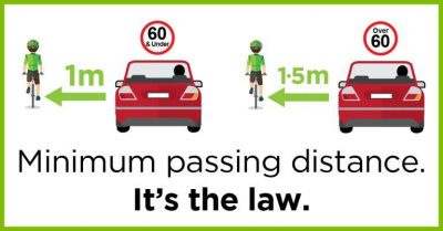 Safe Passing Law Illustration - give 3 feet or a full lane to pass a vulnerable road user