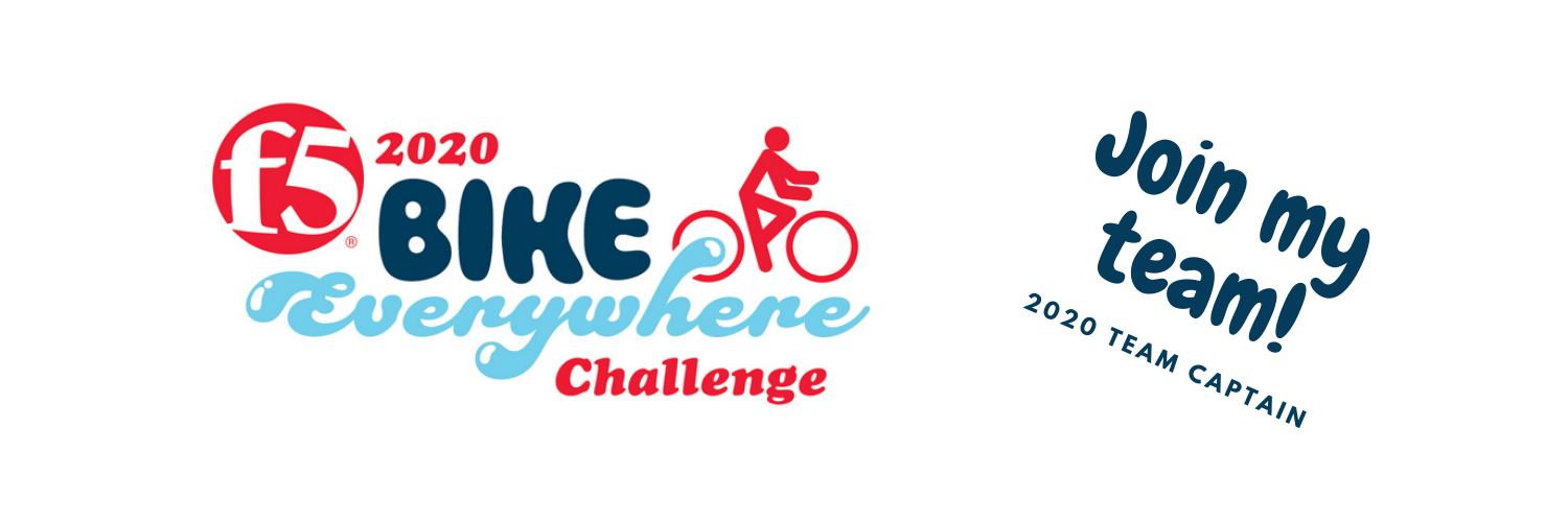 An image sized for use as a Facebook profile banner. It reads: F5 Bike Everywhere Challenge. Join my team! 2020 Team Captain.