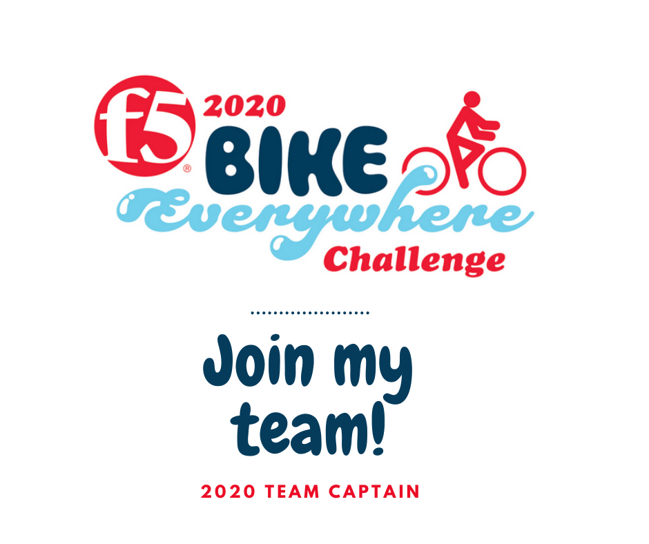 An image sized for twitter or facebook posts. It reads:Join my team! 2020 Team Captain. F5 Bike Everywhere Challenge.